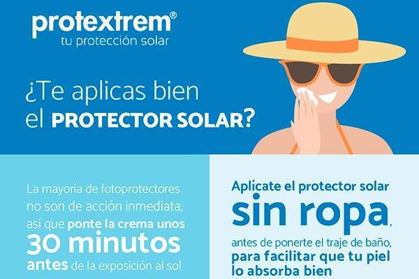 protextrem creado una infografia con consejos para aprender a aplicarse bien el protector solar