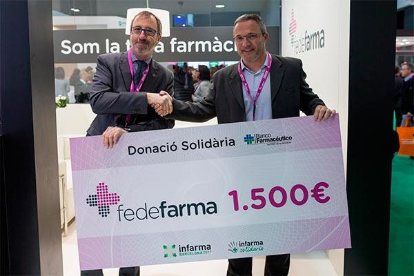 fedefarma dona 1500 euros a banco farmaceutico en el marco de infarma solidario