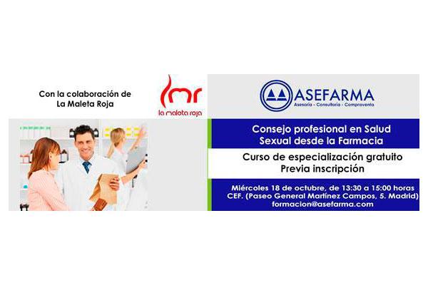 asefarma ultima los detalles del curso sobre consejo profesional en salud sexual desde la farmacia