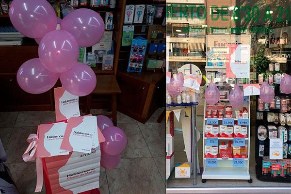 el micof reparte globos rosas dipticos y carteles para que las farmacias informen sobre el cancer de mama