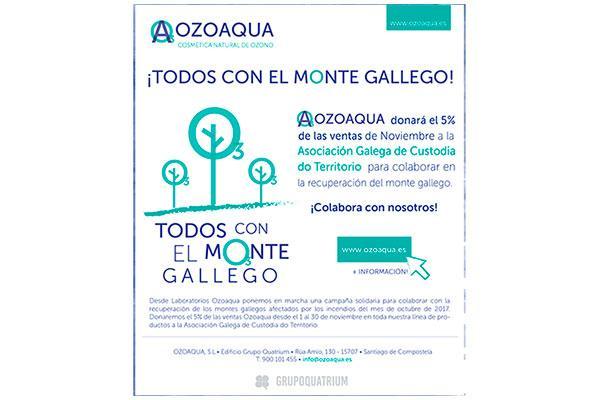 ozoaqua donara el 5 del importe de sus ventas de noviembre para reforestar el monte gallego