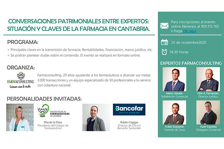 Farmaconsulting organiza un encuentro digital sobre la `Situación y claves de la farmacia en Cantabria´